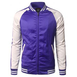 Color Block Striped Pocket Design Zippered Jacket