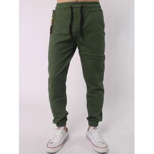 Drawstring Elastic Waist Beads Embellished Beam Feet Jogger Pants - Army Green - M