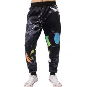 Water Round Print Elastic Waist Jogger Pants