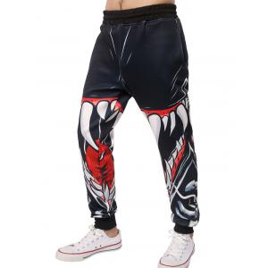 3D Mouth Teeth Print Jogger Pants - BLACK XL
