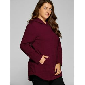 Plus Size Vertical Pockets Emboss Hoodie - WINE RED 3XL