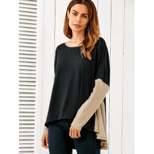 Patchwork High Low Blouse - BLACK M