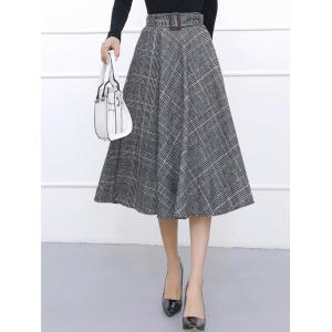 Checked High Waisted Midi Flare Skirt - Grey Blue - 2xl