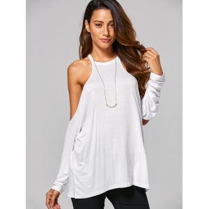 Cold Shoulder Loose-Fitting T-Shirt - WHITE XL