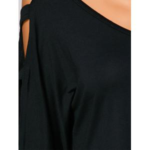 Cut Out Cold Shoulder Loose T-Shirt -