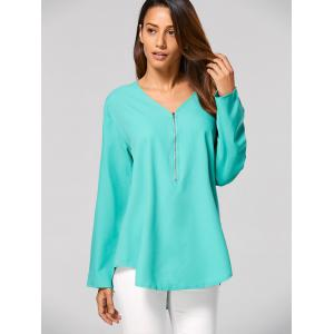 V Neck Zippered Tunic Blouse - GREEN XL