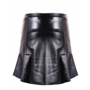 PU Leather Flounce Ruffles Bodycon Skirt -