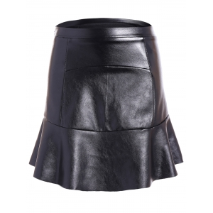 PU Leather Flounce Ruffles Bodycon Skirt - Black - M