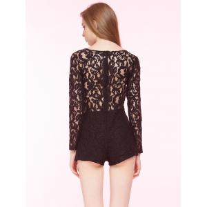 Slimming Lace Plunging Neck Romper -