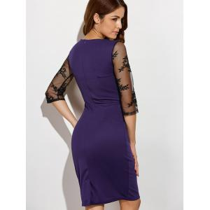Rose Embroidered Lace Insert Pencil Sweetheart Dress - PURPLE 4XL