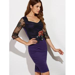 Rose Embroidered Lace Spliced Pencil Dress - PURPLE 4XL