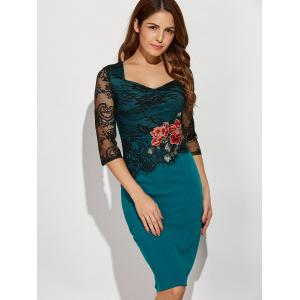 Rose Embroidered Lace Insert Pencil Sweetheart Dress - GREEN XL