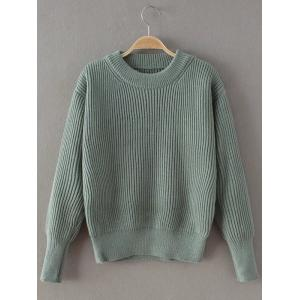 Casual Ribbed Pullover Sweater - Light Green - One Size