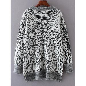 Leopard Jacquard Pullover Sweater -