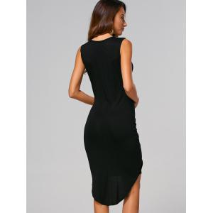 Twist Knot High Low Sheath Dress - BLACK L