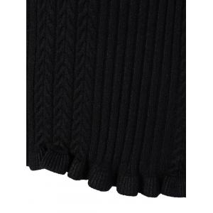 V Neck Fitted Cable Knit Sweater -