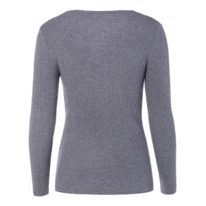 V Neck Fitted Pullover Sweater -