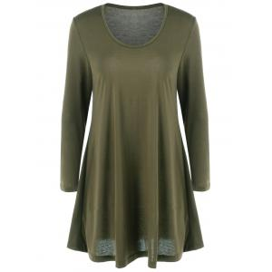 Fit and Flare Long Sleeve Mini Dress - Army Green - S