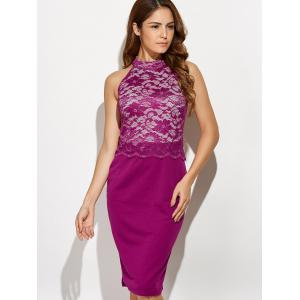 Cut Out Lace Panel Bodycon Tight Dress - PLUM 2XL