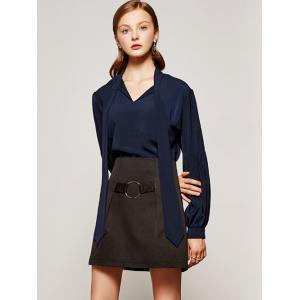 Lantern Sleeve Solid Color Pussy Bow Shirt -