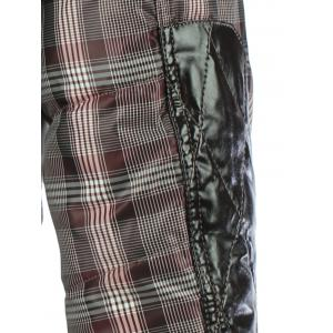 PU Spliced Checkered Hooded Quilted Jacket - CHECKED XL