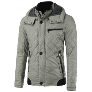 Zipper Pocket Spliced Hooded Padded Jacket