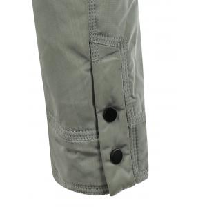 Stand Collar Flap Pocket Padded Jacket - GRAY 2XL