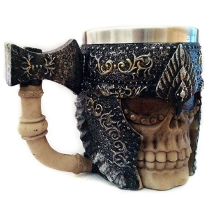 Personalized Double Wall Stainless Steel with Handle 3D Axe Skull Mug -