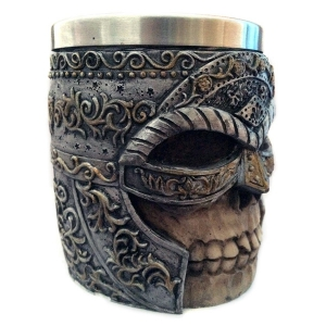 Halloween Double Wall Stainless Steel with Handle 3D Masked Rider Skull Mug -