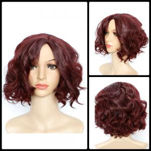 Short Side Parting Curly Fascinating Synthetic Wig - Wine Red - 14inch