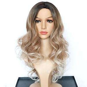 Faddish Long Wavy Middle Part Multi Color Synthetic Wig -