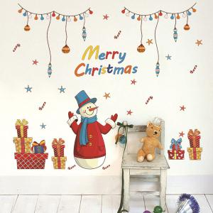 Merry Christmas Snowman Gifts Decorative Wall Art Stickers - COLORFUL