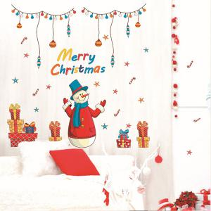 Merry Christmas Snowman Gifts Decorative Wall Art Stickers -
