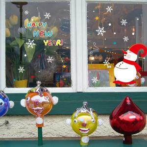 Colorful Merry Christmas Snowman Removable Showcase Wall Stickers -