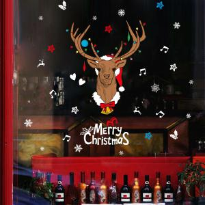 Removable Merry Christmas Deer Showcase Wall Stickers