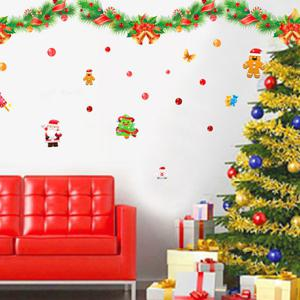 Colorful Ribbons Christmas Removable Glass Window Wall Stickers -