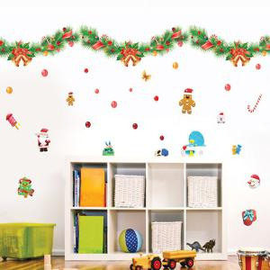 Colorful Ribbons Christmas Removable Glass Window Wall Stickers - Colorful
