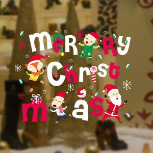 Colorful Merry Christmas Removable Glass Window Wall Stickers -