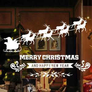 Merry Christmas Milu Removable Glass Window Wall Stickers - WHITE
