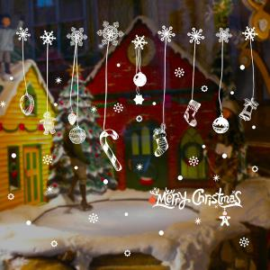 Snow Christmas Removable Glass Window Wall Stickers -