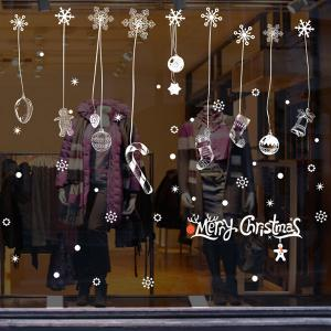 Snow Christmas Removable Glass Window Wall Stickers - WHITE