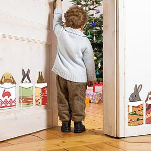 Merry Christmas Cartoon Animal Head Removable Wall Stickers For Kids Bedrooms - COLORMIX
