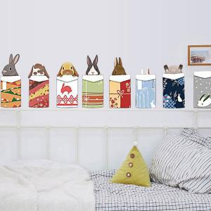 Merry Christmas Cartoon Animal Head Removable Wall Stickers For Kids Bedrooms -