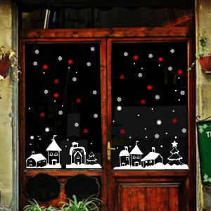 Christmas Snow Town Removable Glass Window Wall Stickers - RED/WHITE