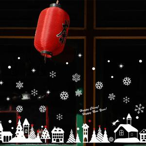 Christmas Snow Cabin Removable Glass Window Wall Stickers - Red With White - One Size