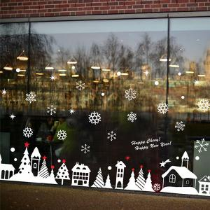 Christmas Snow Cabin Removable Glass Window Wall Stickers - RED/WHITE