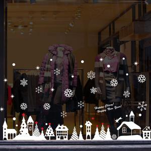 Christmas Snow Cabin Removable Glass Window Wall Stickers -