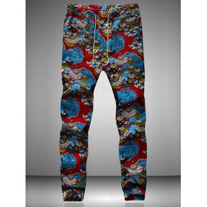Drawstring Waist Retro Printed Jogger Pants - Blue And Red - M
