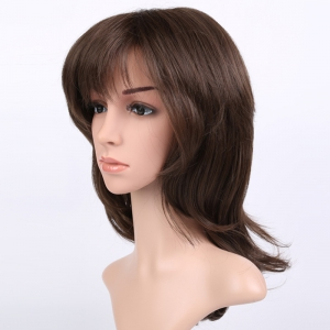 Long Shaggy Silky Straight Inclined Bang Synthetic Wig -