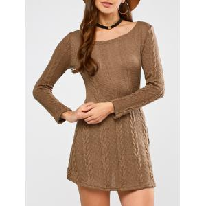 Tunic Cable Knit Mini Jumper Dress - Camel - S